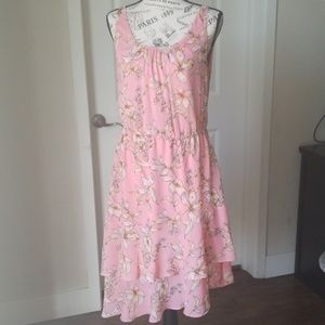 A New Day Pink Floral Asymmetrical Dress